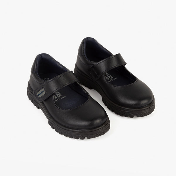 Girl's Navy Lug Sole Washable Leather School Shoes
