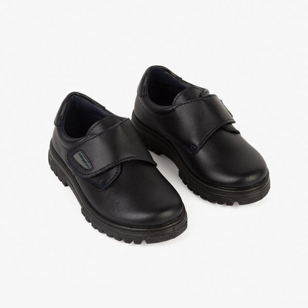 Boy's Navy Lug Sole Washable Leather School Shoes
