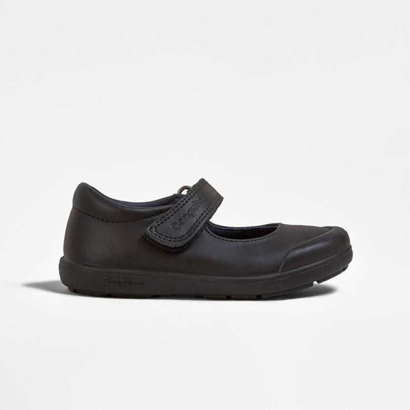 Black Washable Leather Girls School Shoes