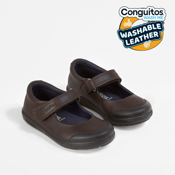 Brown Washable Leather Girls School Shoes