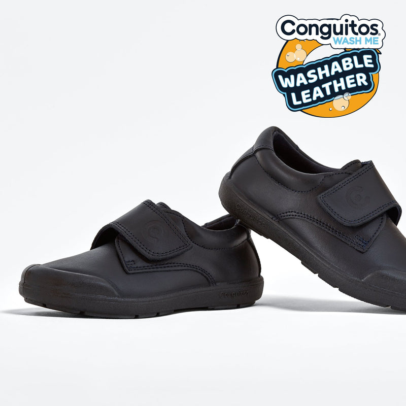 Boy's Navy Washable Leather School Shoes