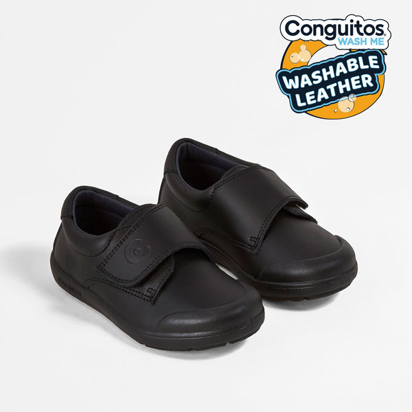 Boys Black Washable Leather School Shoes