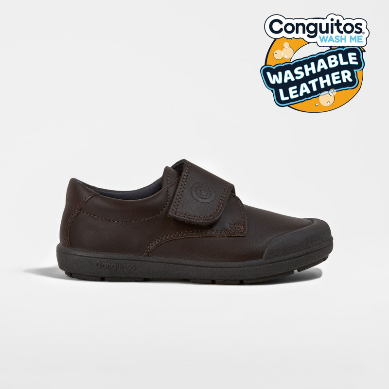 Boys Brown Washable Leather School Shoes