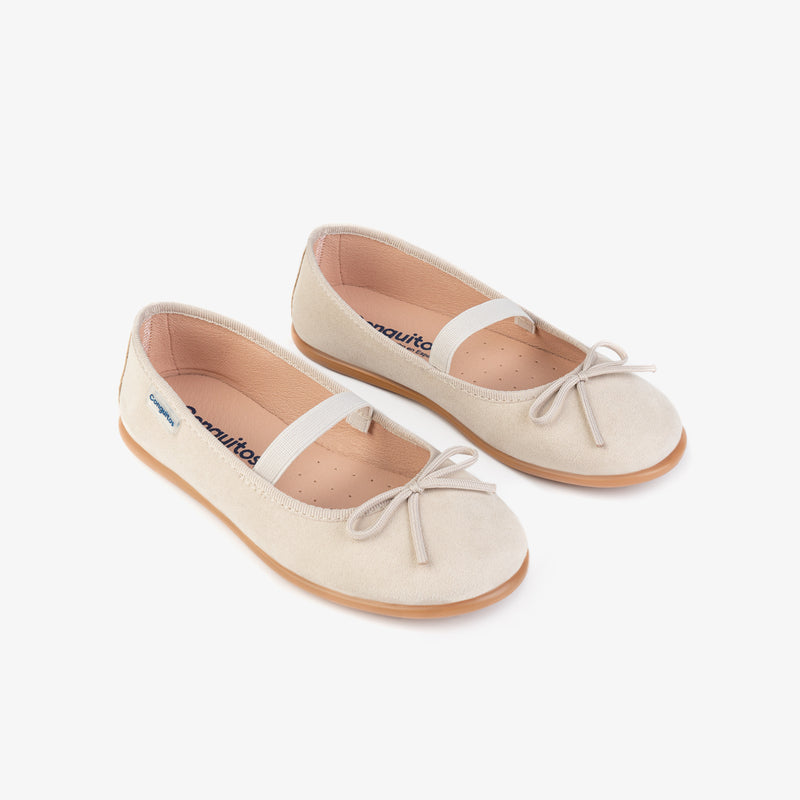 Girl's Beige Basic Ballerinas