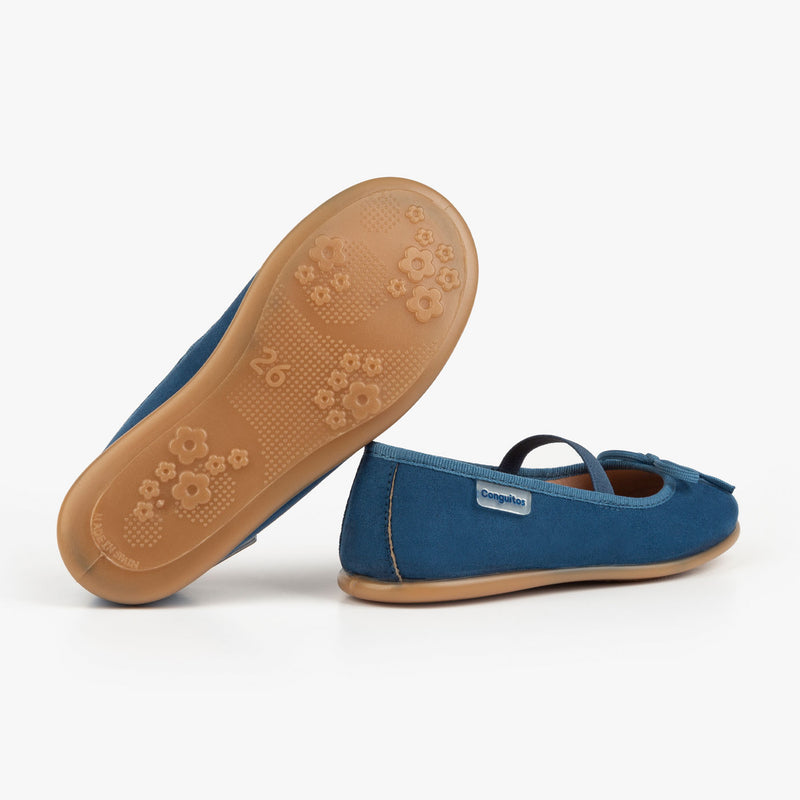 Girl's Blue Indigo Basic Ballerinas