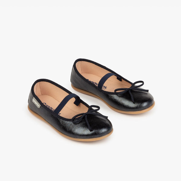 Girl's Metalic Navy Basic Ballerinas