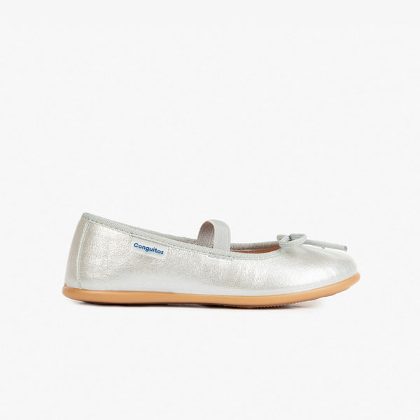 Girl's Metalic Silver Basic Ballerinas