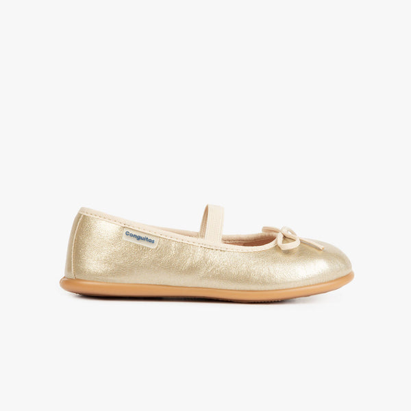 Girl's Metalic Platinum Basic Ballerinas