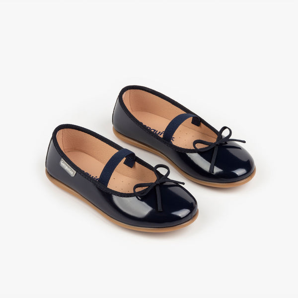 Girl's Navy Basic Patent Leather Ballerinas