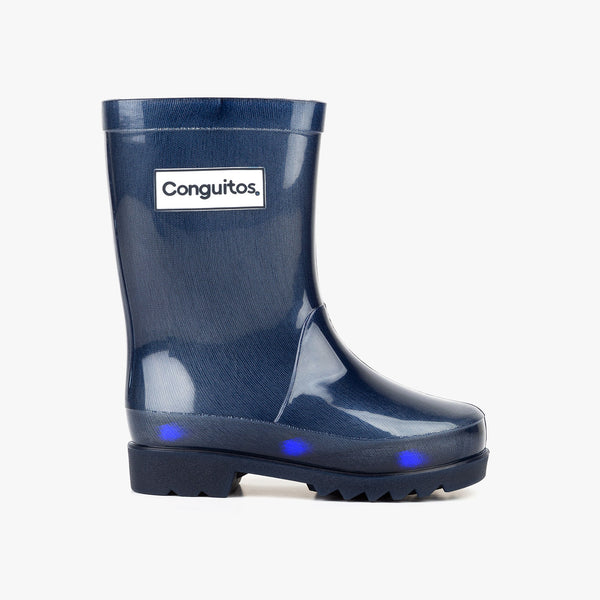 Unisex Navy Rain Boots with Lights