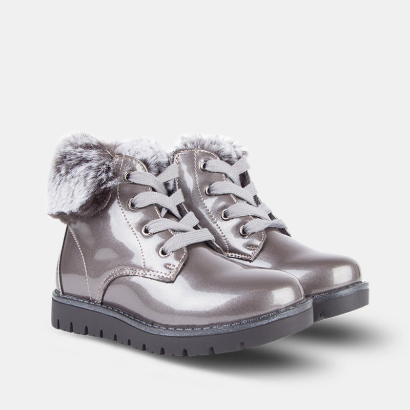 Girls Metallic Silver Patent Leather Booties