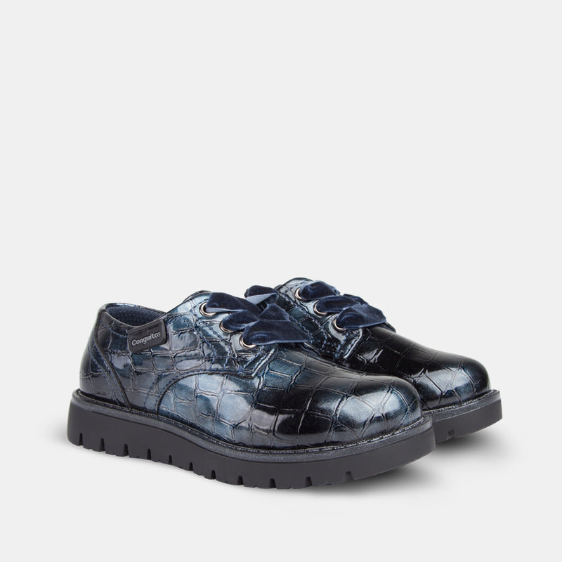 Girl's Blue Patent Leather Shoes