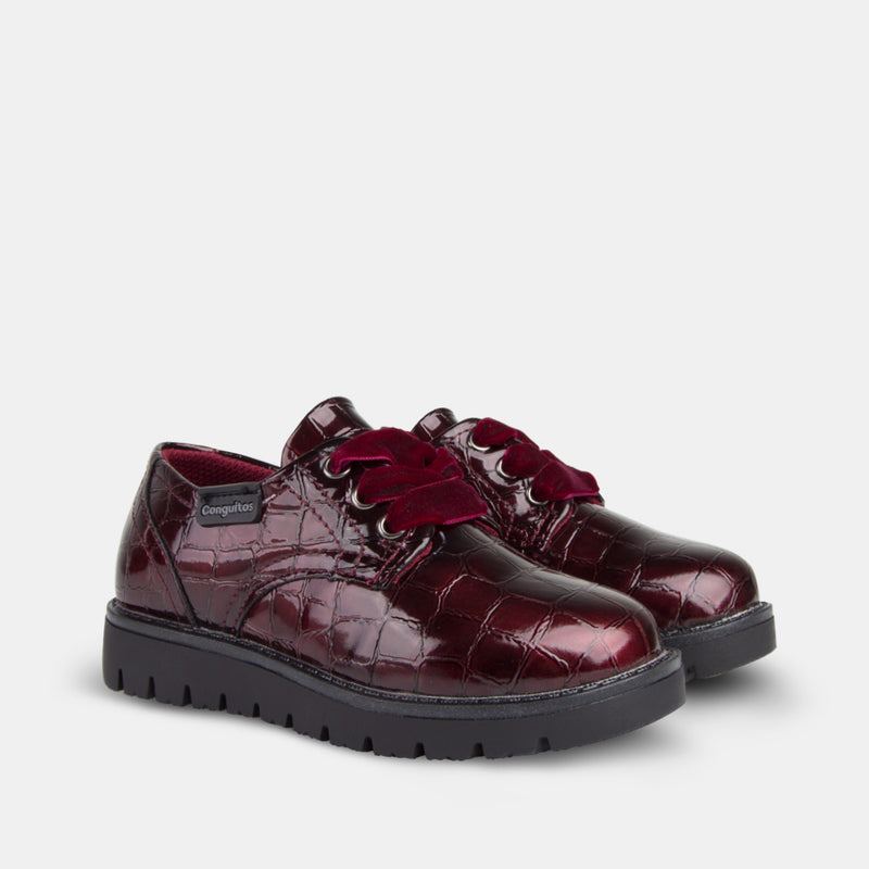 Girl's Wine Patent Leather Shoes