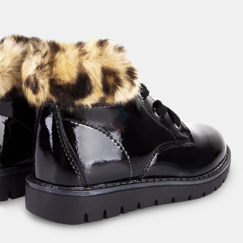 Girls Leopard Patent Leather Booties