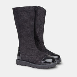 Girl's Black Lurex High Boots