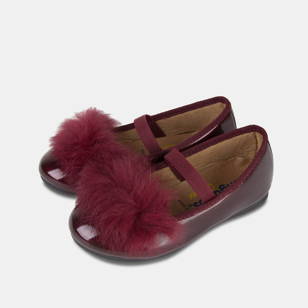 Girl's Wine Faux Fur Ballet Pumps