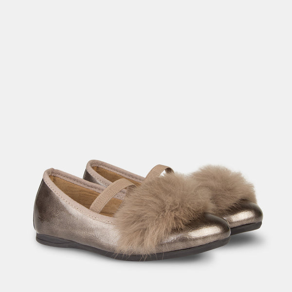 Girl's Titanium Faux Fur Ballet Pumps
