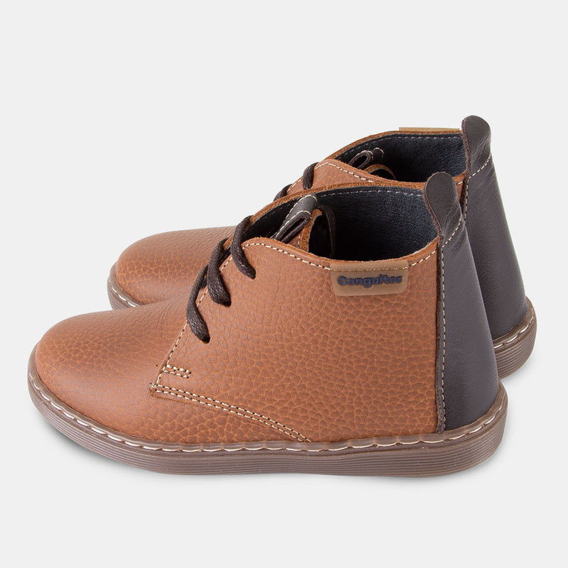 Boys Brown Leather Booties