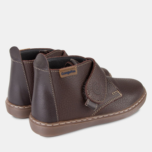 Boys Velcro Brown Leather Booties