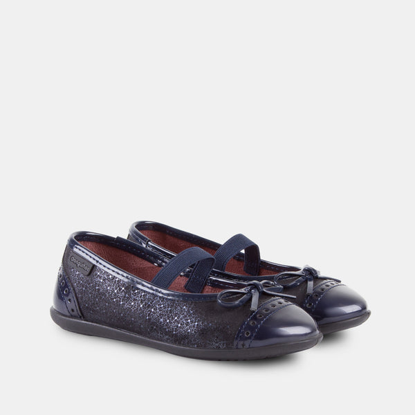 Girl's Navy Patent Leather Ballet Pumps