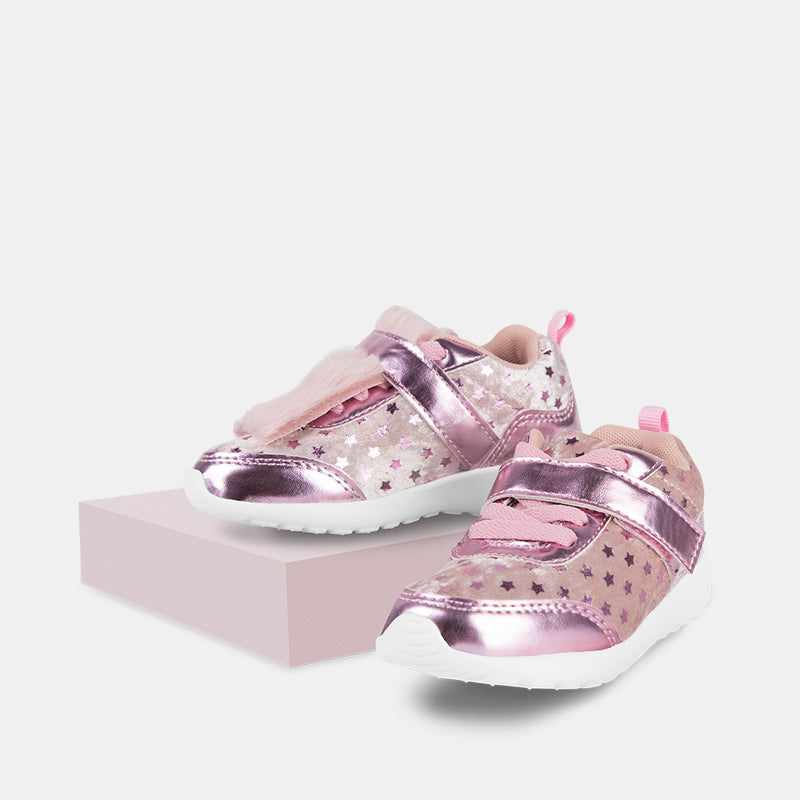 Girls Light Up Pink Velvet Sneakers