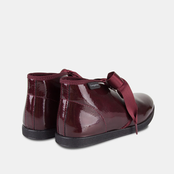 Girls Wine Patent Leather Booties