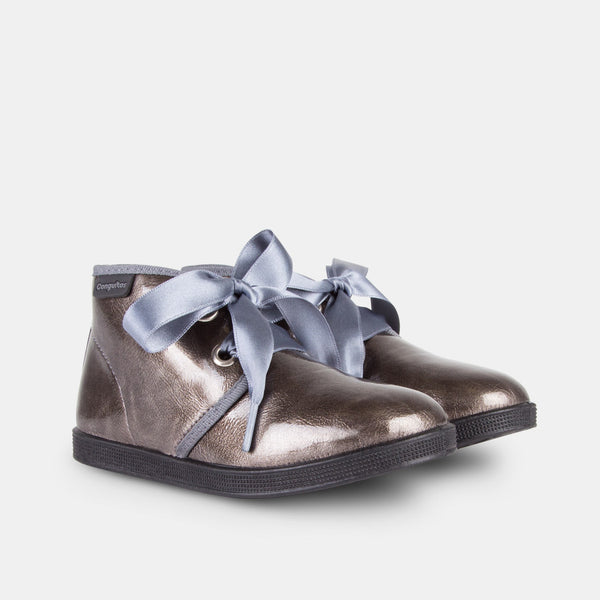 Girls Titanium Patent Leather Booties