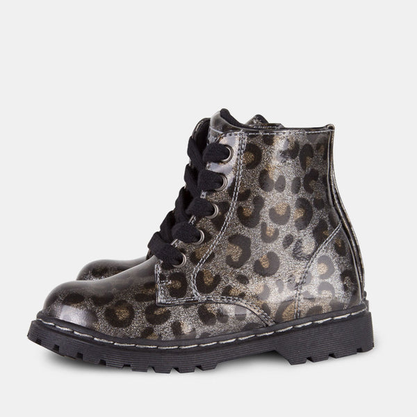 Girl's Leopard Patent Leather Boots