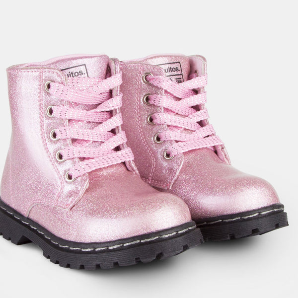 Girl's Glitter Pink Patent Leather Boots