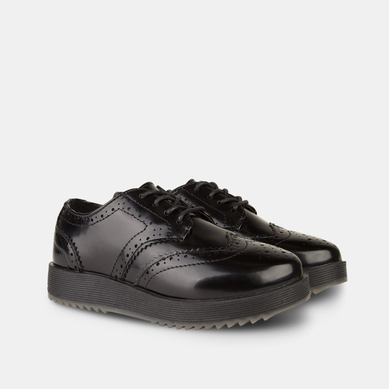 Girl's Black Blucher Shoes