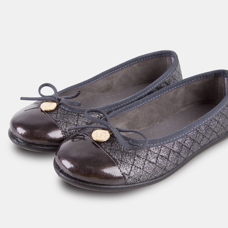 Girl's Metallic Anthracite Ballet Pumps