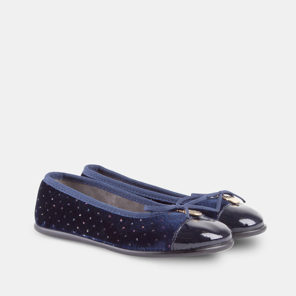 d71309165 Girls Navy Strass Velvet Ballet Pumps – Conguitos EU