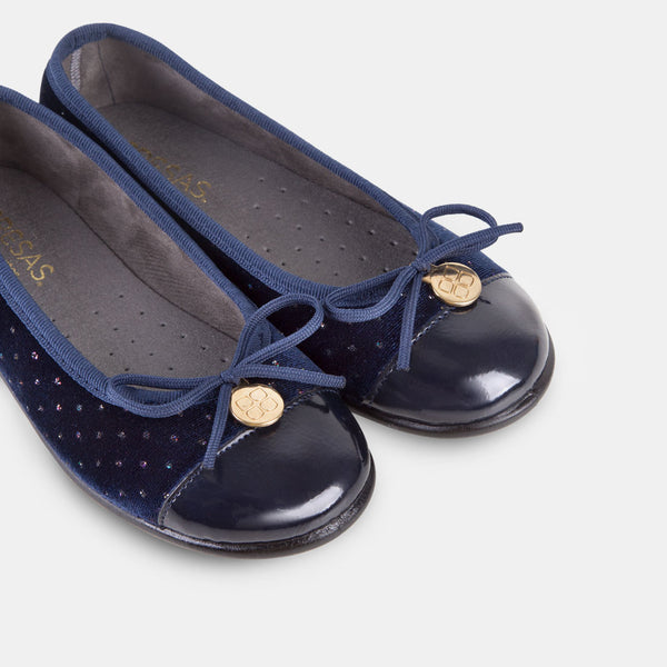 Girl's Navy Strass Velvet Ballet Pumps