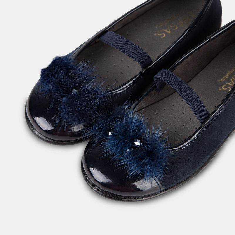 Girl's Navy Jewel Faux Fur Ballet Pumps