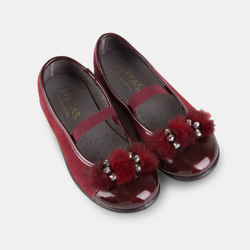 Girl's Wine Jewel Faux Fur Ballet Pumps