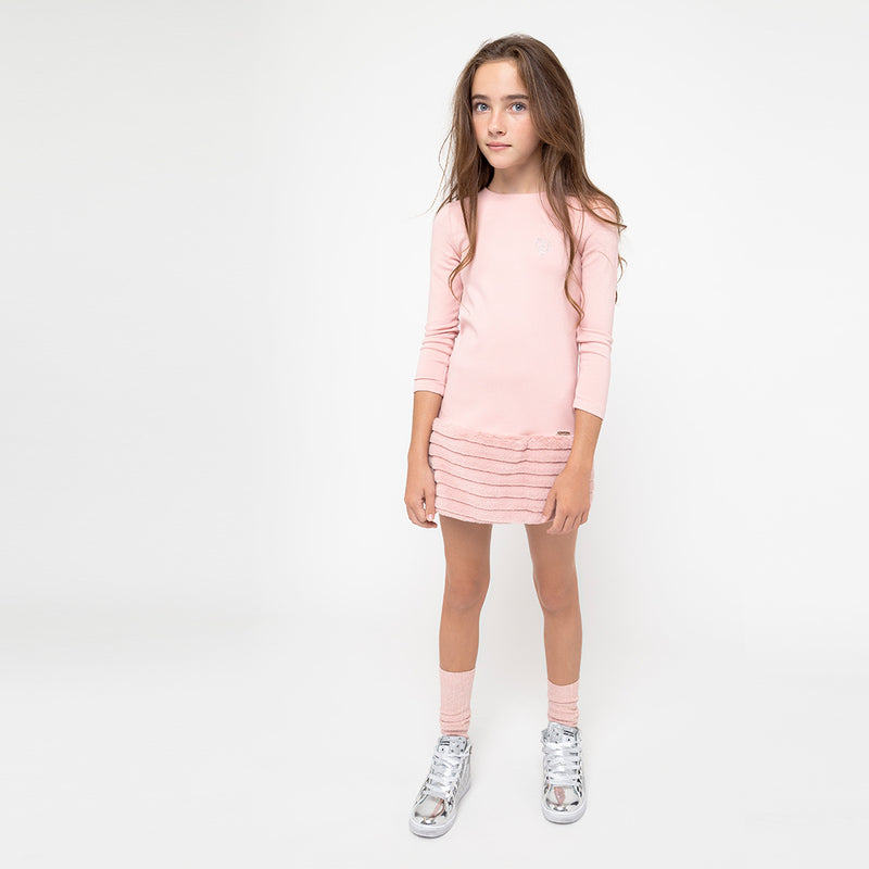 Girls Faux Fur Pink Dress