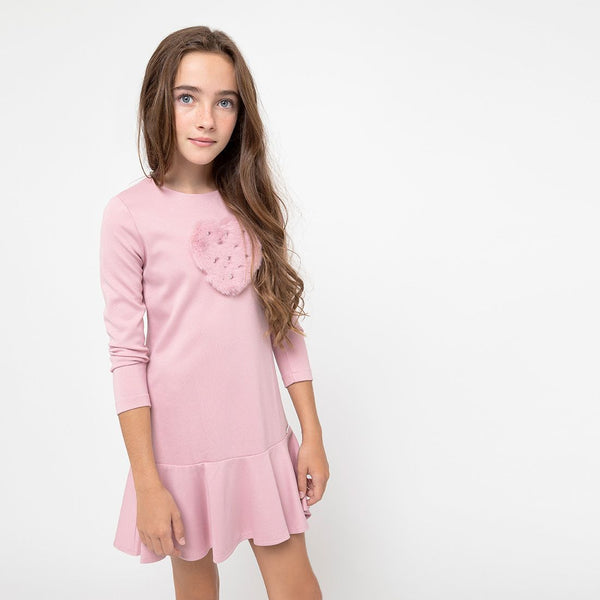 "Girls ""Heart"" Pink Synthetic Fur Dress"