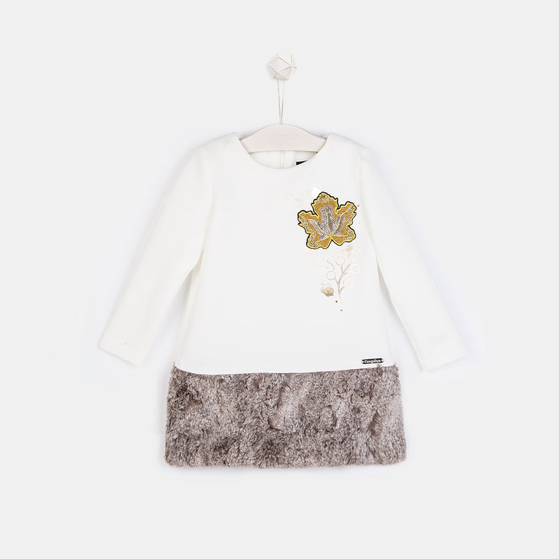 Girls Leaf Ecru Faux Fur Dress
