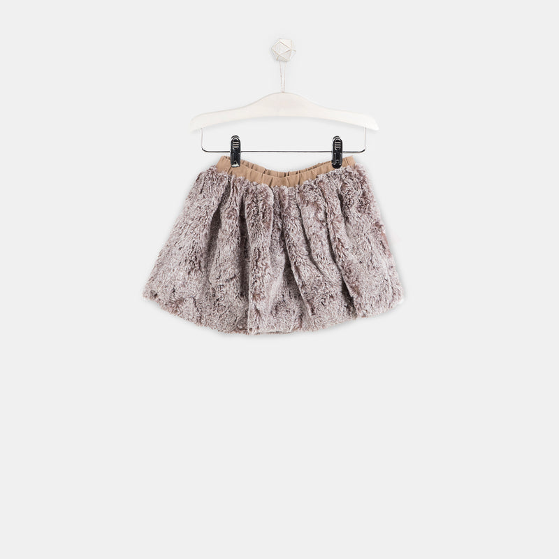 Girls Camel Faux Fur Skirt