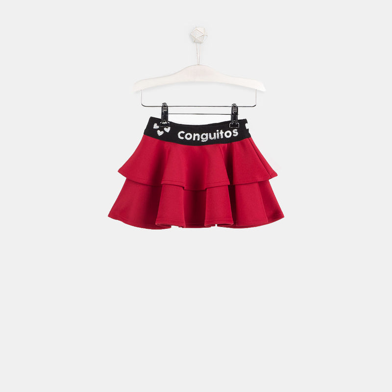 Girls Red Neoprene Skirt