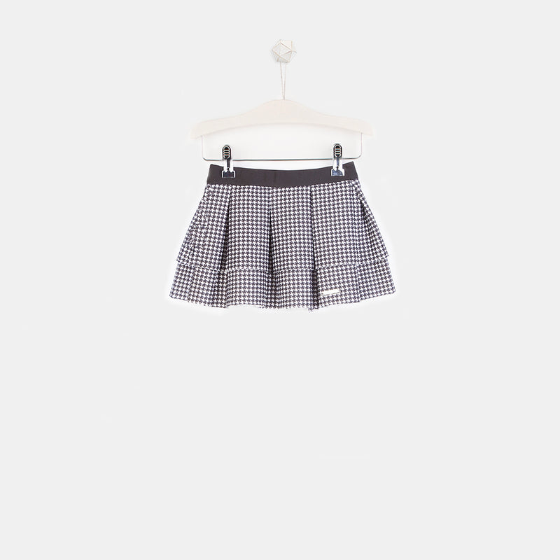 Girls Houndstooth Black Skater Skirt