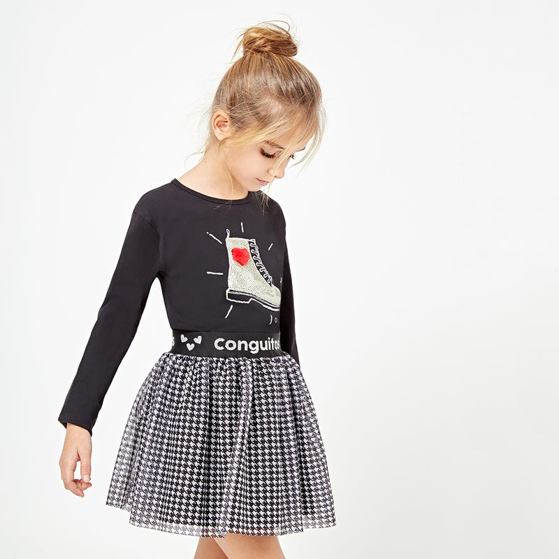 Girls Houndstooth Black Skirt