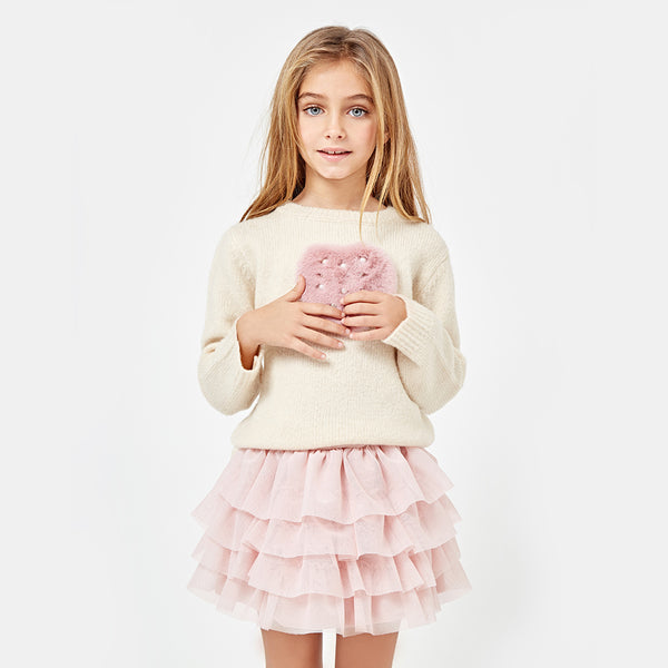 Girls Peplum Hem Pink Tulle Skirt