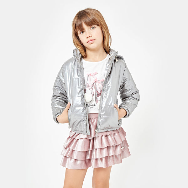Girls Peplum Hem Shining Pink Skirt
