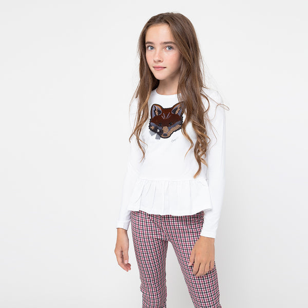 Girls Houndstooth Wine Leggings