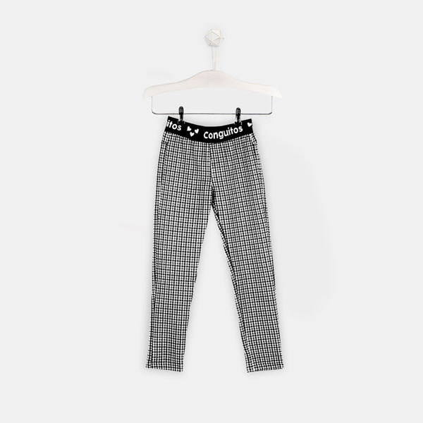 Girls Houndstooth Black Leggings