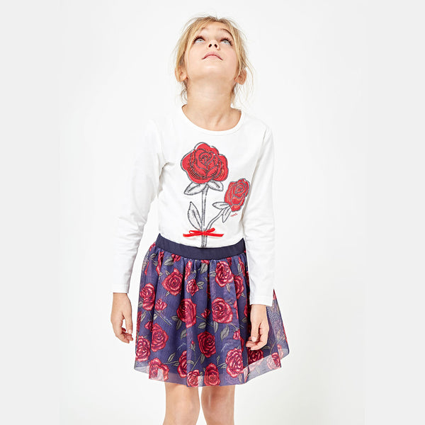 "Girls ""Sequin Roses"" White T-shirt"