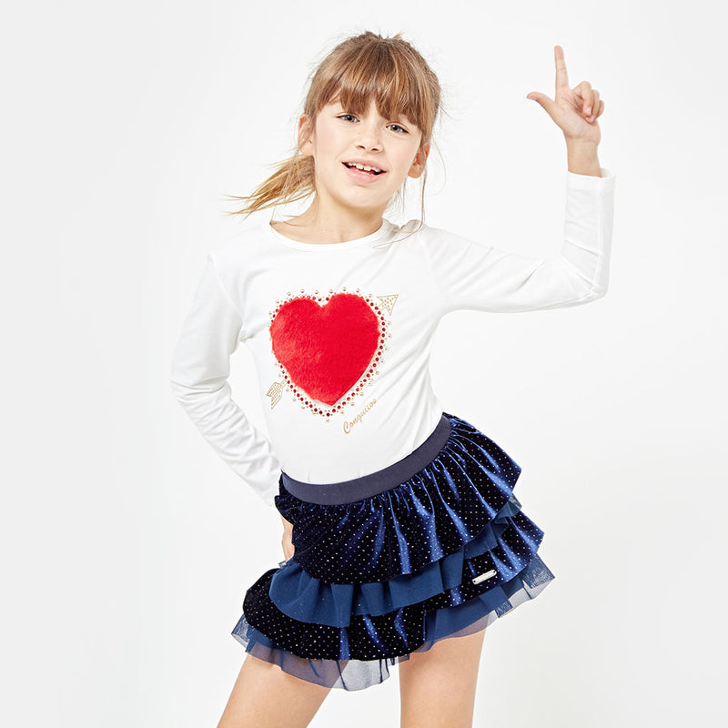 Girls Heart Faux Fur White T-shirt