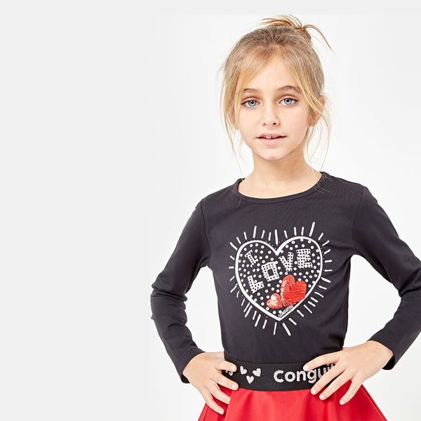 Girls Heart Black Strass T-shirt