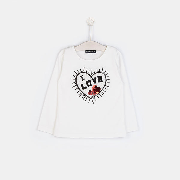 Girls Heart White Strass T-shirt